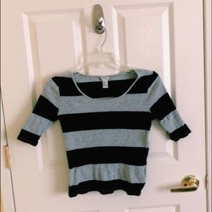 Forever 21 Jersey Knit Striped Crop Top (Size M)
